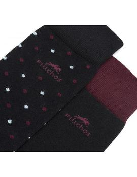 Pack 2 Pares de Calcetines Fluchos CA0003 Negro-Granate